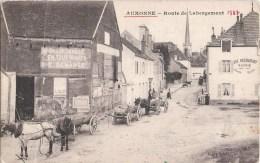 AUXONNE ROUTE DE LABERGEMENT ATTELAGE CHEVAUX CHARBONNAGE E. DEMANGE 21 - Auxonne