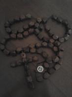 Antico Gigante  Rosario   Lurdes   Legno Pregiato Lung.circa 150 Cm Anni 80 - Arte Popolare