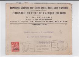 1946 - ENVELOPPE COMMERCIALE (CYCLES) De ALGER (ALGERIE) Pour PARIS - IRIS SURCHARGE - Algérie (1924-1962)