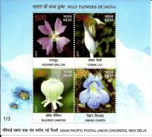 Wild Flowers,himalaya,mountain ,carnivorous Plant,cobra Lily,miniature Sheet, India 2013 - India
