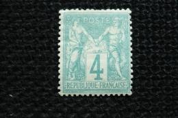 France  Sage 4c Vert    N°63  Neuf  * Avec  Charnière - 1876-1878 Sage (Type I)