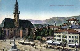 BOZEN (Südtirol) - Walterplatz Mit Pfarrkirche, Pferdekutschen, Statue, Hotel, Lithfassäule, Gelaufen Um 1918, Zensur - Bolzano (Bozen)