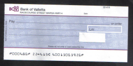 MALTA - BANK OF VALLETTA   LIMITED CHECK 1990s - VERY INTERESTING - - Cheques & Traveler's Cheques