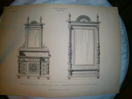 PLANCHE L ART ET L INDUSTRIE  COMMODE TOILETTE ET ARMOIRE A GLACE  ANNEE 1886 - Technical Plans