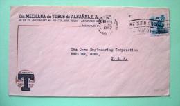 Mexico 1947 Cover To USA - Postman - Pipe Adress - Social Security Cancel - México