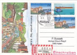 BRD 1376, 1378 MiF Auf R-Karte Mit Sost: 8880 Dillingen DILLINGA '88 Biberstehler 8.8.88, Schnapszahl - [7] Federal Republic
