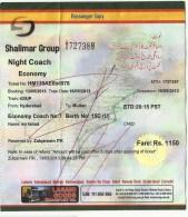 Pakistan Railway Passenger Ticket For Used HYDERABAD TO MULTAN SHALIMAR EXPRESS TRAIN 2013 - Monde