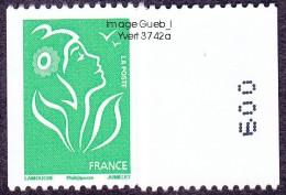 France Roulette N° 3742,A ** Marianne De Lamouche Philaposte - TVP VERT Numéro Au Verso à Droite - Rollen