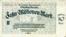 Notgeld Reichsbahn 10 Millionen Mark  Karlsruhe 1923 - [ 3] 1918-1933 : Weimar Republic