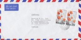 Kenya Airmail Par Avion NAIROBI 1987 Cover Brief To Denmark 2/50 Sh. Pair Flowers Blumen - Kenia (1963-...)