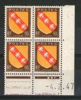 CD 757**_tres Bon Centrage_signatures Incomplètes_4/2/47 - Coins Datés