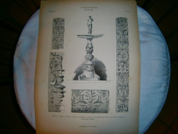 PLANCHE L ART ET L INDUSTRIE  BENITIER DE L EGLISE S.GIOVANNI A PARME  ANNEE 1882 - Technische Pläne