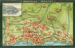 Landkarte Carte Landscape Montreux Territet Grand Hotel Des Alpes Um 1920 - Cartes Géographiques