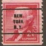 USA 2c JEFFERSON COIL  Precancel New York N Y - Stati Uniti