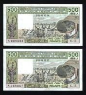 500 Francs Type 1980 B.C.E.A.O Côte D´IVOIRE émission 1984 - Suite De 2 Billets - Côte D'Ivoire