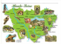 HAUTE-LOIRE .   Carte Du Département   Allègre,Blesle, Vorey, Yssingeaux,St Julien, Saugues, Costaros, Le Monastier, L - France