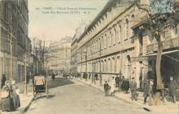 PARIS - L ECOLE NORMALE D INSTITUTRICES FACADE RUE BOURSAULT ( CPA COLORISEE ) - Paris (17)