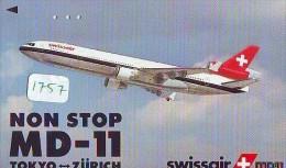 Télécarte Japon * SWISSAIR * MD-11 * NON STOP TOKYO - ZURICH (1757) Japan Phonecard Airplane * Flugzeug * AVION AIRLINES - Avions