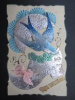 CP CELLULOID (M53) BONNE ANNEE 1945-46 (2 Vues) Découpis Sabot, Hirondelle, Lune, Texte D'espoir Après La Guerre - Autres