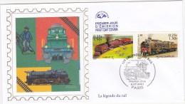 FDC La Légende Du Rail / JP COUSIN / Locomotives / GARRATT 59 / PACIFIC CHAPELON / 2001 PARIS - FDC