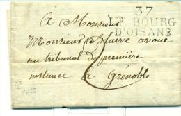 MARCOPHILIE ISERE - MARQUE LINEAIRE LE BOURG D'OISANS - LETTRE DATEE D'OZ - POTHION INDICE 12 - 1801-1848: Precursors XIX