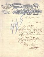 JURA - VILLARDS D´HERIA -SPECIALITE DE FROMAGES DE COMTE - CHARLES MILLET - LETTRE -  1912 - Food