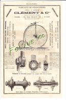 PUB 1882 Fabrique De Vélocipèdes CLEMENT  Gand Bi ( Bicyclette Cycles ) Veilleuses Françaises Fabrique à La Gare JEUNET - Publicités