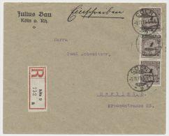 DR MiNr 325 MeF Einschreiben Cöln * 9 K 9.11.23 PP 23 Nach Berlin - Deutschland