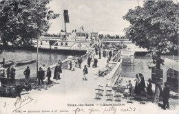 """EVIAN-LES-BAINS L'EMBARCADERE 1900 BATEAU A VAPEUR """" LA SUISSE """" - Evian-les-Bains"""