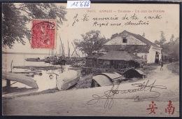 Annam - Tourane - Un Coin De Rivière (port, Barques Renversées Radoub)  ; Timbre Indochine Française 1908 (12´688) - Viêt-Nam