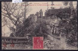 Annam - Tourane - Bonzes De  La Pagode De Marbre Descendant Les 1000 Escaliers; Timbre Indochine Française 1907 (12´690) - Viêt-Nam