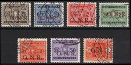 ITALIA 1944 RSI SEGNATASSE LOTTO 7 VALORI CON SOPRASTAMPA GNR USATI (F123a) - Portomarken