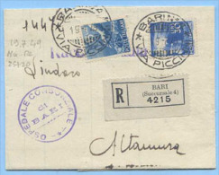 1949 DEMOCRATICA L. 15+30 PIEGO 19.7.49 TARIFFA MANOSCRITTI RACC. (20+25) TIMBRO ARRIVO E SPLENDIDA MONOCROMA (A136) - 6. 1946-.. Repubblica