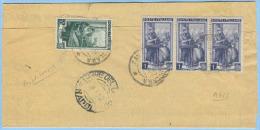 1952 LAVORO L.1x3+10 PIEGO S. GIORGIO LA MOLARA TARIFFA RIDOTTA SINDACI 8.3.52 RISPEDITO L.1+2+10 AFFRANCATURE PURE(A134 - 6. 1946-.. Repubblica