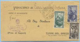 1952 LAVORO L.1+2+10 PIEGO PERGINE VALSUGANA (TRENTO) TARIFFA RIDOTTA 8.3.52 RISPEDITO STESSA AFFRANCATURA PURA(A135) - 6. 1946-.. Repubblica