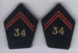 Pattes De Col Du 34e Régiment De Génie - Officier - Patches