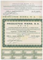 ACCION ANTIGUA - ACTION ANTIQUE =  Productos Riera SA - PRISA (rara Sin Numeracion - 1955 - Acciones & Títulos