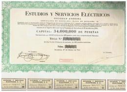 ACCION ANTIGUA - ACTION ANTIQUE = Estudios Y Servicios Electricos 1954 - Acciones & Títulos