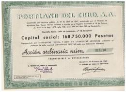 ACCION ANTIGUA - ACTION ANTIQUE = Portland Del Ebro 1962 - Acciones & Títulos