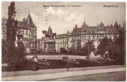 CP, ALLEMAGNE, MAGDEBURG, Kaiser Wilhelm-Platz Mit Denkmal, Voyagé En 1914 - Magdeburg