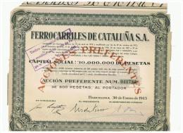 ACCION ANTIGUA - ACTION ANTIQUE = Ferrocarriles De Cataluña 1943 - Acciones & Títulos