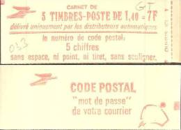 "CARNET 2102-C1a Sabine ""CODE POSTAL"" Fermé. Variété Impression LOGO Au Verso TRES Défectueuse, RARE - Abarten Und Kuriositäten"