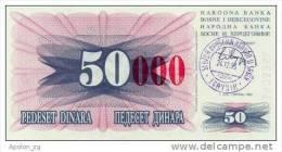 BOSNIA:  50 000 Dinara On 50 Dinara, 1993 UNC *P-55d * 16mm High Red Zeroes - 24.12.1993 - Bosnia And Herzegovina