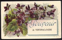 CPA ANCIENNE- FRANCE- VENTENAC-D'AUDE (11)- CARTE SOUVENIR ILLUSTRÉE EN COULEUR- BOUQUET DE VIOLETTES- - Frankreich