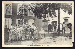 CPA ANCIENNE- FRANCE- VENTENAC-CABARDES (11)- LA PLACE EN ÉTÉ- TRES BELLE ANIMATION GROS PLAN- FONTAINE- CHEVAUX- - Other Municipalities