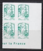 = Marianne Et La Jeunesse Autocollant X 4 Lettre Verte -20g, Coin Bas De Feuille N° 858 Adhésif - 2013-... Marianne De Ciappa-Kawena