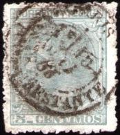 08-042 SPAIN 1879 ED. 201 USADO PARIS POSTA RESTANTE RRR LUJO ESPAGNE SPANIEN SPANJE - Gebraucht