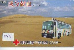 Telecarte Japon * Croix Rouge (1155) PHONECARD JAPAN * Red Cross * TK * Rotes Kreuz * BUS - Publicidad