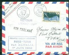 1ere Liaison Aérienne Paris - Turin Par Alitalia 1/06/1958 - Ad22905 - Poste Aérienne
