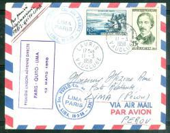 1ere Liaison Aérienne  Directe Paris - Quito- Lima 13/0.3/1958  - Ad22911 - Poste Aérienne